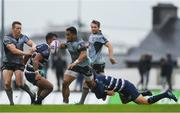 13 October 2018; Bundee Aki of Connacht is tackled by Lucas Meret of Bordeaux Begles during the European Rugby Challenge Cup Pool 3 Round 1 match between Connacht and Bordeaux Begles at The Sportsground in Galway. Photo by Piaras Ó Mídheach/Sportsfile
