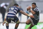 13 October 2018; Bundee Aki of Connacht in action against Afa Amosa of Bordeaux Begles during the European Rugby Challenge Cup Pool 3 Round 1 match between Connacht and Bordeaux Begles at The Sportsground in Galway. Photo by Piaras Ó Mídheach/Sportsfile