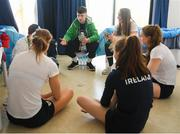 13 October 2018; Team Ireland athletes, from left, clockwise, Robert Powell, from Athlone, Westmeath, Dean Clancy, from Ballinacarrow, Sligo, Sophie Meredith, from Newcastle West, Limerick, Niamh Coyne, from Tallaght, Dublin, Emma Slevin from Renmore, Galway and Mona McSharry from Grange, Sligo, playing a game of cards, in the Youth Olympic Village, on Day 7 of the Youth Olympic Games in Buenos Aires, Argentina. Photo by Eóin Noonan/Sportsfile
