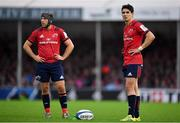 13 October 2018; Joey Carbery of Munster, right, with team-mate Duncan Williams during the Heineken Champions Cup Pool 2 Round 1 match between Exeter Chiefs and Munster at Sandy Park in Exeter, England. Photo by Brendan Moran/Sportsfile