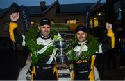 13 October 2018: Declan Boyle and James O'Reilly in their Ford Fiesta WRC celebrate after winning the 2018 National Rally Championship at Ballybofey, Co Donegal. Photo by Philip Fitzpatrick/Sportsfile