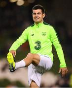 13 October 2018; John Egan of Republic of Ireland warms-up prior to the UEFA Nations League B group four match between Republic of Ireland and Denmark at the Aviva Stadium in Dublin. Photo by Stephen McCarthy/Sportsfile