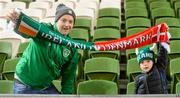 13 October 2018; Republic of Ireland supporters Anthony Keating, left, with his son Tommy, age 6, from Graiguecullen, Co Carlow prior to the UEFA Nations League B group four match between Republic of Ireland and Denmark at the Aviva Stadium in Dublin. Photo by Harry Murphy/Sportsfile