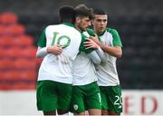 13 October 2018; Troy Parrott of Republic of Ireland, centre, celebrates with team-mates Jonathan Afolabi, left, and Ali Reghba during the 2018/19 UEFA Under-19 European Championships - Qualifying Round match between Republic of Ireland and Faroe Islands at City Calling Stadium, Longford. Photo by Barry Cregg/Sportsfile