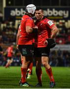 13 October 2018; John Cooney, right, and Rory Best of Ulster during the Heineken Champions Cup Pool 4 Round 1 match between Ulster and Leicester Tigers at Kingspan Stadium, Belfast. Photo by David Fitzgerald/Sportsfile
