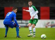 13 October 2018; Jack James of Republic of Ireland in action against Hanus Sorensen of Faroe Islands during the 2018/19 UEFA Under-19 European Championships Qualifying Round match between Republic of Ireland and Faroe Islands at the City Calling Stadium in Longford. Photo by Barry Cregg/Sportsfile