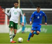 13 October 2018; Troy Parrott of Republic of Ireland in action against Stefan Radosavlevic of Faroe Islands during the 2018/19 UEFA Under-19 European Championships Qualifying Round match between Republic of Ireland and Faroe Islands at the City Calling Stadium in Longford. Photo by Barry Cregg/Sportsfile