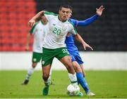 13 October 2018; Ali Reghba of Republic of Ireland in action against Steffan Lokin of Faroe Islands during the 2018/19 UEFA Under-19 European Championships Qualifying Round match between Republic of Ireland and Faroe Islands at the City Calling Stadium in Longford. Photo by Barry Cregg/Sportsfile