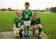 13 October 2018; Republic of Ireland mascots, from left, Abbie Coleman, age 10, from Finglas, Co Dublin, Jack Regan age 3, from Monaghan Town, Co Monaghan, and Carrigh O'Connor, age 7, from Ballbriggan, Co Dublin, prior to the 2018/19 UEFA Under-19 European Championships Qualifying Round match between Republic of Ireland and Faroe Islands at the City Calling Stadium in Longford. Photo by Barry Cregg/Sportsfile