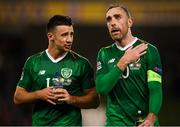 13 October 2018; Enda Stevens, left, and Richard Keogh of Republic of Ireland following the UEFA Nations League B group four match between Republic of Ireland and Denmark at the Aviva Stadium in Dublin. Photo by Stephen McCarthy/Sportsfile