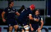 12 October 2018; Luke McGrath of Leinster is congratulated by Josh van der Flier, centre, and James Lowe after scoring a try during the Heineken Champions Cup Pool 1 Round 1 match between Leinster and Wasps at the RDS Arena in Dublin. Photo by Ramsey Cardy/Sportsfile