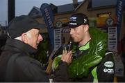13 October 2018; Sam Moffett during an interview with Martin Walsh after winning the Jackson's Hotel Harvest Stages Rally during Round 7 of the 2018 National Rally Championship at Ballybofey, Co. Donegal. Photo by Philip Fitzpatrick/Sportsfile