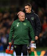 13 October 2018; Republic of Ireland equipment officer Dick Redmond and Shaun Williams following the UEFA Nations League B group four match between Republic of Ireland and Denmark at the Aviva Stadium in Dublin. Photo by Stephen McCarthy/Sportsfile