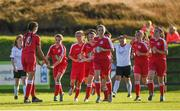14 October 2018; Emily Whelan of Shelbourne, second left, celebrates after scoring her sides second goal during the Continental Tyres Women's Under 17 National League Final match between Galway Women's and Shelbourne Ladies at Drom, Galway. Photo by Harry Murphy/Sportsfile
