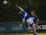 14 October 2018; Padraic Clarke of St. Judes knocks the ball over the head of the St. Vincents goalkeeper Michael Savage to score a first half goal during the Dublin County Senior Club Football Championship semi-final match between St. Jude's and St. Vincent's at Parnell Park, Dublin. Photo by Ray McManus/Sportsfile