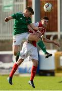 14 October 2018; Donnchad O'Doherty of Cork City in action against of Matthew Brennan of St. Patrick's Athletic during the National Under 15 Cup Final match between St. Patrick's Athletic and Cork City at Richmond Park in Inchicore, Dublin. Photo by Tom Beary/Sportsfile