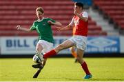 14 October 2018; Jack Anthony of Cork City in action against Cian Kavanagh of St. Patrick's Athletic during the National Under 15 Cup Final match between St. Patrick's Athletic and Cork City at Richmond Park in Inchicore, Dublin. Photo by Tom Beary/Sportsfile