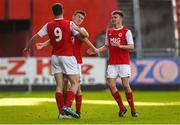14 October 2018; Cian Kavanagh of St. Patrick's Athletic, 9, celebrates after scoring his side's fourth goal with teammates during the National Under 15 Cup Final match between St. Patrick's Athletic and Cork City at Richmond Park in Inchicore, Dublin. Photo by Tom Beary/Sportsfile