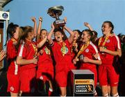 14 October 2018; Mia Dodd of Shelbourne lifts the trophy following the Continental Tyres Women's Under 17 National League Final match between Galway Women's and Shelbourne Ladies at Drom, Galway. Photo by Harry Murphy/Sportsfile
