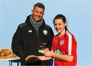 14 October 2018; Emily Whelan of Shelbourne is presented the Player of the Match award by Republic of Irleand women's head coach Colin Bell following the Continental Tyres Women's Under 17 National League Final match between Galway Women's and Shelbourne Ladies at Drom, Galway. Photo by Harry Murphy/Sportsfile