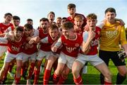 14 October 2018; St. Patrick's Athletic players celebrate following the National Under 15 Cup Final match between St. Patrick's Athletic and Cork City at Richmond Park in Inchicore, Dublin. Photo by Tom Beary/Sportsfile