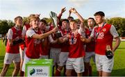 14 October 2018; St. Patrick's Athletic players celebrate with the cup following the National Under 15 Cup Final match between St. Patrick's Athletic and Cork City at Richmond Park in Inchicore, Dublin. Photo by Tom Beary/Sportsfile