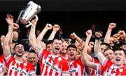14 October 2018; Imokilly captain Seamus Harnedy lifts the cup following their victory in the Cork County Senior Hurling Championship Final between Imokilly and Midleton at Pairc Ui Chaoimh in Cork. Photo by Ramsey Cardy/Sportsfile
