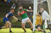 14 October 2018; Ronan O'Reilly of Clann na Gael with support from team-mate Stephen Flynn saves the goal attempt by Brian Stack of St.Brigid's during the Roscommon County Senior Club Football Championship Final match between Clann na Gael and St Brigid's at Dr Hyde Park, Roscommon. Photo by Barry Cregg/Sportsfile