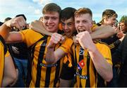 14 October 2018; St Peter's Dunboyne players, from left, Sean Ryan, Liam Byrne and Cian O'Dwyer celebrate after the Meath County Senior Club Football Championship Final match between St Peter's Dunboyne and Summerhill at Páirc Tailteann in Navan, Meath. Photo by Brendan Moran/Sportsfile