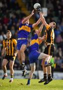 14 October 2018; Robert McCarthy of St Peter's Dunboyne gets to the ball ahead of Ross Ryan, left, and Caolan Young of Summerhill to set up his side's only goal during the Meath County Senior Club Football Championship Final match between St Peter's Dunboyne and Summerhill at Páirc Tailteann in Navan, Meath. Photo by Brendan Moran/Sportsfile