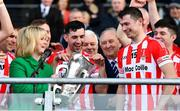 14 October 2018; Cork GAA Chairperson Tracey Kennedy presents Imokilly captain Seamus Harnedy with the trophy following the Cork County Senior Hurling Championship Final between Imokilly and Midleton at Pairc Ui Chaoimh in Cork. Photo by Ramsey Cardy/Sportsfile