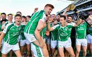 14 October 2018; Ross O'Donovan, front, and his Ballincollig teammates celebrate their victory in the Cork County Intermediate Hurling Championship Final between Ballincollig and Blackrock at Pairc Ui Chaoimh in Cork. Photo by Ramsey Cardy/Sportsfile