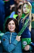 14 October 2018; 5 year old Ballincollig supporter Luisne Ní Dhraighneáin with mother Sinead during the Cork County Intermediate Hurling Championship Final between Ballincollig and Blackrock at Pairc Ui Chaoimh in Cork. Photo by Ramsey Cardy/Sportsfile