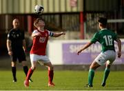 14 October 2018; Kyle Conway of St. Patrick's Athletic in action against Elyas Eshaji of Cork City during the National Under 15 Cup Final match between St. Patrick's Athletic and Cork City at Richmond Park in Inchicore, Dublin. Photo by Tom Beary/Sportsfile