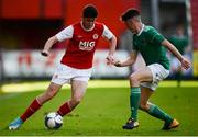 14 October 2018; Cian Kavanagh of St. Patrick's Athletic in action against Barry McCarthy of Cork City during the National Under 15 Cup Final match between St. Patrick's Athletic and Cork City at Richmond Park in Inchicore, Dublin. Photo by Tom Beary/Sportsfile
