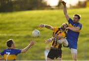 14 October 2018; David Gallagher of St Peter's Dunboyne contests a kickout with Padraig Geraghty, left, and Michael Byrne of Summerhill during the Meath County Senior Club Football Championship Final match between St Peter's Dunboyne and Summerhill at Páirc Tailteann in Navan, Meath. Photo by Brendan Moran/Sportsfile