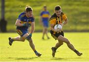 14 October 2018; Donal Lenihan of St Peter's Dunboyne in action against Iarla Hughes of Summerhill during the Meath County Senior Club Football Championship Final match between St Peter's Dunboyne and Summerhill at Páirc Tailteann in Navan, Meath. Photo by Brendan Moran/Sportsfile