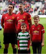 25 September 2018; Kory Miller and James Sheedy with Gary Neville and Ryan Giggs of Manchester United Legends during the Liam Miller Memorial match between Manchester United Legends and Republic of Ireland & Celtic Legends at Páirc Uí Chaoimh in Cork. Photo by Stephen McCarthy/Sportsfile