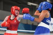 14 October 2018; Dearbhla Rooney, left, of Team Ireland, from Manorhamilton, Leitrim, in action against Roma Linda Martinez of USA during their women's feather weight, quarter final bout, in the Youth Olympic Park on Day 8 of the Youth Olympic Games in Buenos Aires, Argentina. Photo by Eóin Noonan/Sportsfile