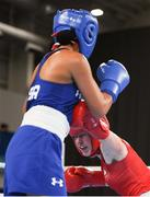 14 October 2018; Dearbhla Rooney, right, of Team Ireland, from Manorhamilton, Leitrim, in action against Roma Linda Martinez of USA during their women's feather weight, quarter final bout, in the Youth Olympic Park on Day 8 of the Youth Olympic Games in Buenos Aires, Argentina. Photo by Eóin Noonan/Sportsfile