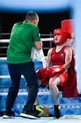 14 October 2018; Dearbhla Rooney of Team Ireland, from Manorhamilton, Leitrim, with her coach Dmitri Dmitruk between rounds during her women's feather weight, quarter final bout, in the Youth Olympic Park on Day 8 of the Youth Olympic Games in Buenos Aires, Argentina. Photo by Eóin Noonan/Sportsfile
