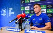 15 October 2018; Jordan Larmour during a Leinster Rugby press conference at Leinster Rugby Headquarters in Dublin. Photo by Ramsey Cardy/Sportsfile