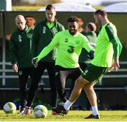 15 October 2018; Cyrus Christie, centre, during a Republic of Ireland training session at the FAI National Training Centre in Abbotstown, Dublin. Photo by Stephen McCarthy/Sportsfile