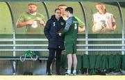 15 October 2018; Republic of Ireland manager Martin O'Neill speaking to STATSports Analyst Jason Black during a Republic of Ireland training session at the FAI National Training Centre in Abbotstown, Dublin. Photo by Stephen McCarthy/Sportsfile
