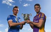 15 October 2018; Ballyboden St. Enda's hurler Simon Lambert, left, and Kilmacud Crokes hurler Rob Murphy wih The New Ireland Assurance Company Perpetual Challenge Cup during a Dublin SHC / SFC Finals Media Launch at Parnell Park in Dublin. Photo by Piaras Ó Mídheach/Sportsfile
