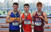 13 October 2018; Senior boys medallists, from left, Tony O'Connor of Naas CBS, Co. Kildare, silver, Brian  Lynch of Coláiste an Spioraid Naoimh Bishopstown, Co. Cork, gold, and Ryan McNeilis of Presentation College Athenry, Co. Galway, bronze, during the Irish Life Health All-Ireland Schools Combined Events at AIT in Athlone, Co Westmeath. Photo by Sam Barnes/Sportsfile