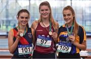 13 October 2018; Senior Girls medallists, from left, Caoimhe Rowe of Boyne Community School, Co. Meath, silver, Laura Cunningham of Presentation College Athenry, Co. Galway, gold, and Caoimhe O'Hanlon of St. Louis Monaghan, Co. Monaghan, bronze, during the Irish Life Health All-Ireland Schools Combined Events at AIT in Athlone, Co Westmeath. Photo by Sam Barnes/Sportsfile
