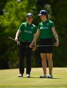 15 October 2018; David Kitt of Team Ireland, from Athenry, Co. Galway, and Lauren Crowley-Walsh of Team Ireland, from Kill, Co. Kildare, reading the 7th green during the Mixed Team Cumulative Team Play event in the Hurlingham Golf Cub, on Day 9 of the Youth Olympic Games in Buenos Aires, Argentina. Photo by Eóin Noonan/Sportsfile