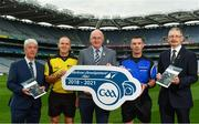 16 October 2018;  In attendance during Referee Development Plan Launch is Uachtarán Chumann Lúthchleas Gael John Horan, with, from left,Sean Martin, Vice-Chairman of Coiste Forbartha na Réiteoirí, Conor Lane, referee, James Owens, referee, and Patrick Doherty, National Match Officials Manager,  at Croke Park, Dublin. Photo by Sam Barnes/Sportsfile