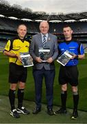 16 October 2018;  In attendance during Referee Development Plan Launch is Uachtarán Chumann Lúthchleas Gael John Horan, with referees Conor Lane, left, and James Owens, at Croke Park in Dublin. Photo by Sam Barnes/Sportsfile